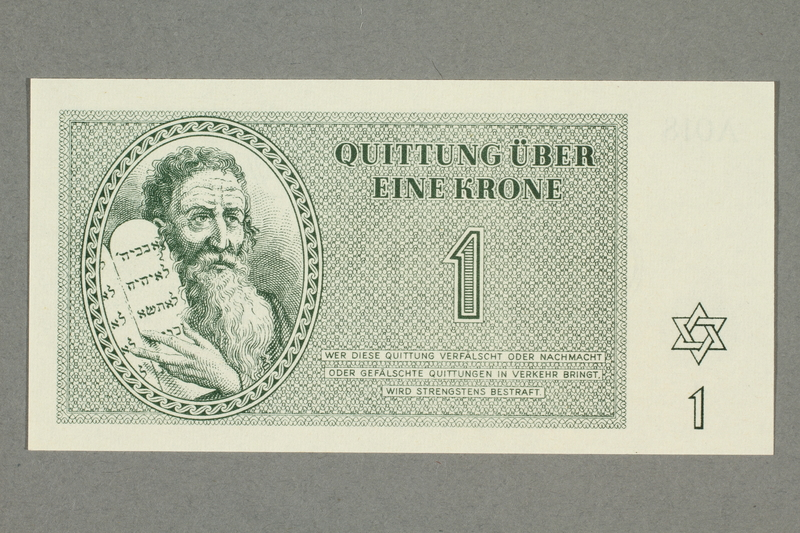 1999.A.0036.3 front Theresienstadt ghetto-labor camp scrip, 1 krone note