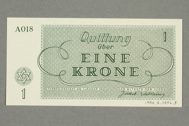 1999.A.0036.3 back Theresienstadt ghetto-labor camp scrip, 1 krone note