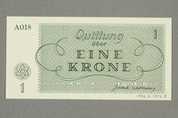 1999.A.0036.3 back Theresienstadt ghetto-labor camp scrip, 1 krone note  Click to enlarge