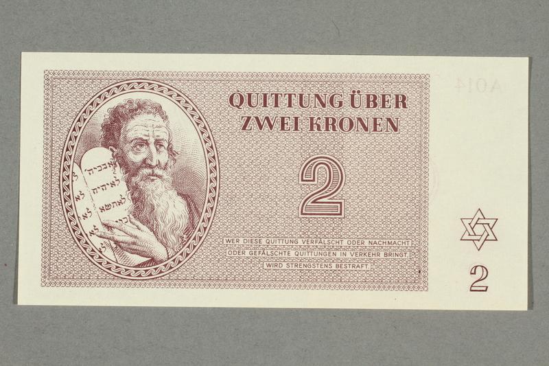 1999.A.0036.4 front Theresienstadt ghetto-labor camp scrip, 2 kronen note