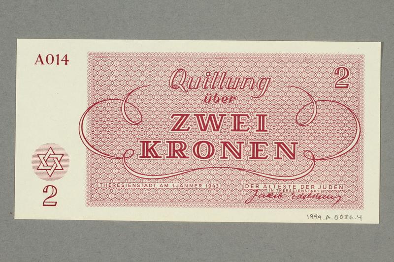 1999.A.0036.4 back Theresienstadt ghetto-labor camp scrip, 2 kronen note