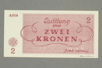 1999.A.0036.4 back Theresienstadt ghetto-labor camp scrip, 2 kronen note  Click to enlarge
