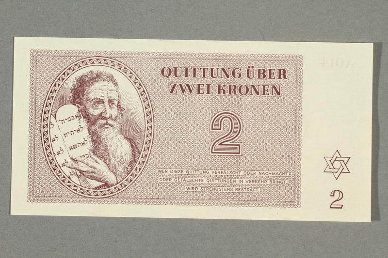 1999.A.0036.5 front Theresienstadt ghetto-labor camp scrip, 2 kronen note