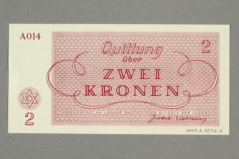 1999.A.0036.5 back Theresienstadt ghetto-labor camp scrip, 2 kronen note