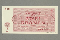 1999.A.0036.5 back Theresienstadt ghetto-labor camp scrip, 2 kronen note  Click to enlarge