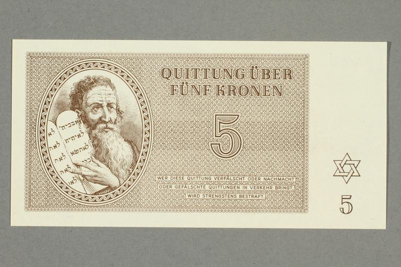 1999.A.0036.6 front Theresienstadt ghetto-labor camp scrip, 5 kronen note