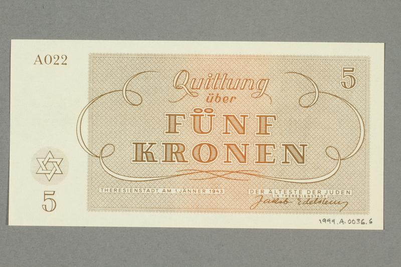 1999.A.0036.6 back Theresienstadt ghetto-labor camp scrip, 5 kronen note