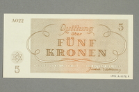 1999.A.0036.6 back Theresienstadt ghetto-labor camp scrip, 5 kronen note  Click to enlarge