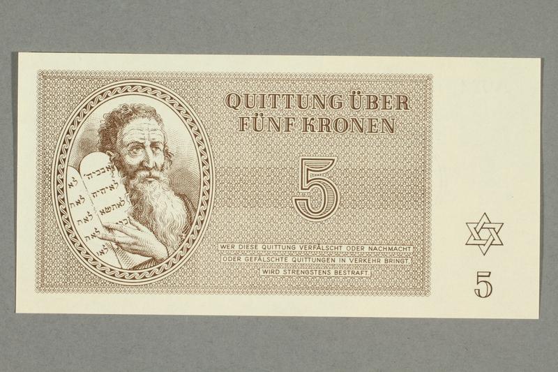 1999.A.0036.7 front Theresienstadt ghetto-labor camp scrip, 5 kronen note