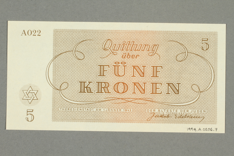 1999.A.0036.7 back Theresienstadt ghetto-labor camp scrip, 5 kronen note
