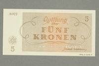 1999.A.0036.7 back Theresienstadt ghetto-labor camp scrip, 5 kronen note  Click to enlarge