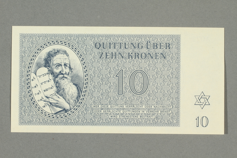 1999.A.0036.9 front Theresienstadt ghetto-labor camp scrip, 10 kronen note