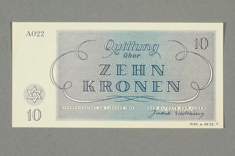 1999.A.0036.9 back Theresienstadt ghetto-labor camp scrip, 10 kronen note