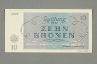 1999.A.0036.9 back Theresienstadt ghetto-labor camp scrip, 10 kronen note  Click to enlarge