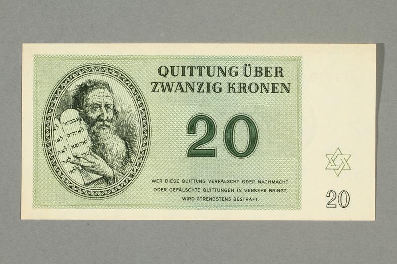 1999.A.0036.10 front Theresienstadt ghetto-labor camp scrip, 20 kronen note