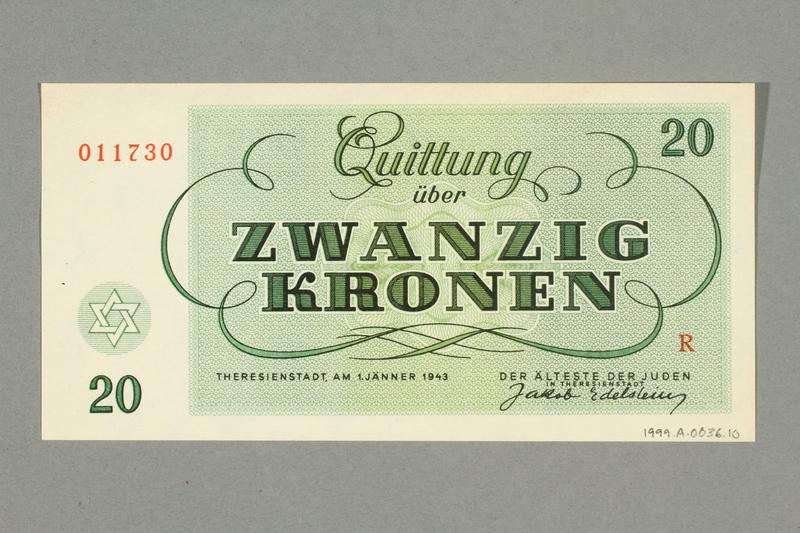 1999.A.0036.10 back Theresienstadt ghetto-labor camp scrip, 20 kronen note