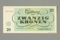 1999.A.0036.10 back Theresienstadt ghetto-labor camp scrip, 20 kronen note  Click to enlarge