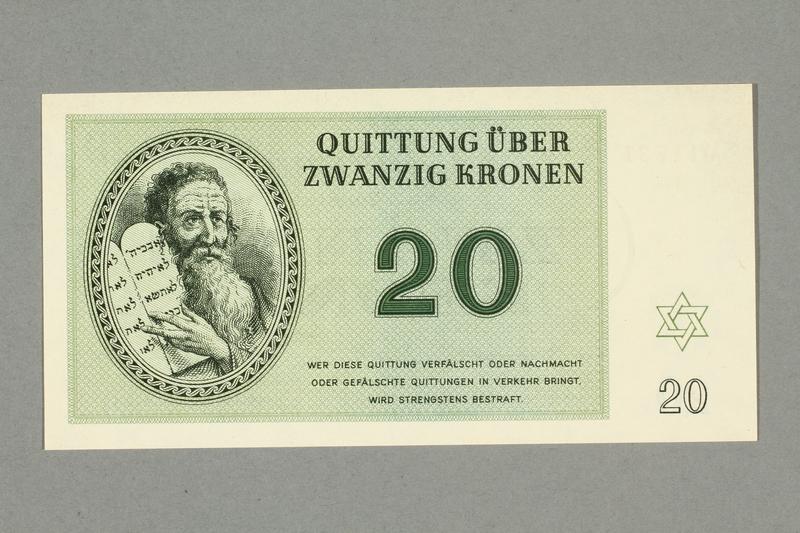 1999.A.0036.11 front Theresienstadt ghetto-labor camp scrip, 20 kronen note