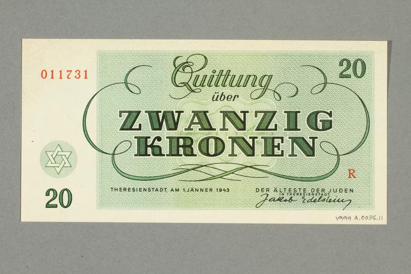 1999.A.0036.11 back Theresienstadt ghetto-labor camp scrip, 20 kronen note