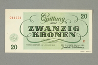 1999.A.0036.11 back Theresienstadt ghetto-labor camp scrip, 20 kronen note  Click to enlarge