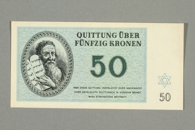 1999.A.0036.12 front Theresienstadt ghetto-labor camp scrip, 50 kronen note
