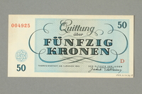 1999.A.0036.12 back Theresienstadt ghetto-labor camp scrip, 50 kronen note  Click to enlarge