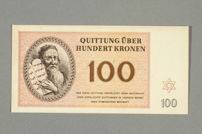 1999.A.0036.14 front Theresienstadt ghetto-labor camp scrip, 100 kronen note