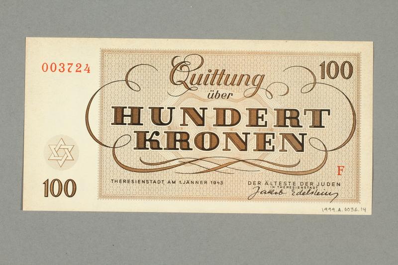 1999.A.0036.14 back Theresienstadt ghetto-labor camp scrip, 100 kronen note