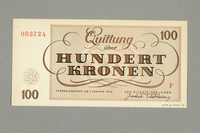 1999.A.0036.14 back Theresienstadt ghetto-labor camp scrip, 100 kronen note  Click to enlarge
