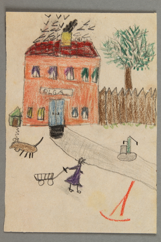 2016.527.23 front Drawing of a house and front yard