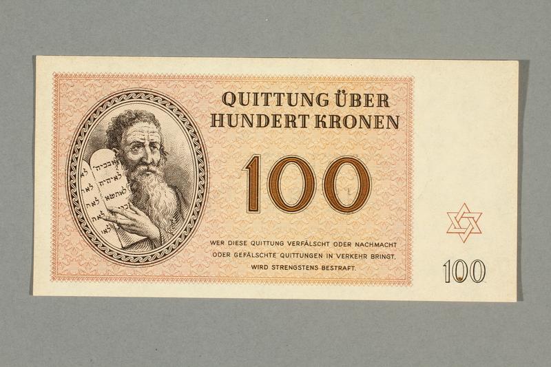 1999.A.0036.15 front Theresienstadt ghetto-labor camp scrip, 100 kronen note