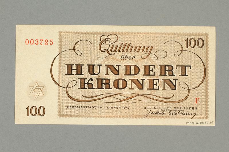 1999.A.0036.15 back Theresienstadt ghetto-labor camp scrip, 100 kronen note
