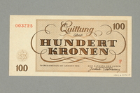 1999.A.0036.15 back Theresienstadt ghetto-labor camp scrip, 100 kronen note  Click to enlarge