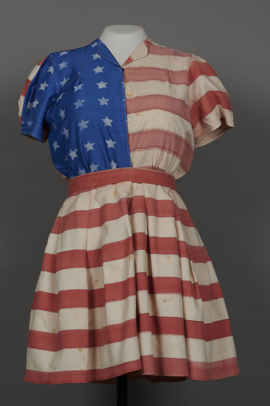 2018.70.2 front Stars and stripes dress worn by a German Jewish woman for a DP camp theatrical performance