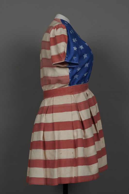 2018.70.2 right Stars and stripes dress worn by a German Jewish woman for a DP camp theatrical performance