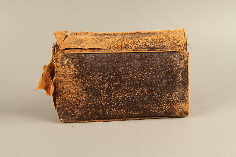 2018.63.2 back Leather clutch owned by a Polish Jewish woman