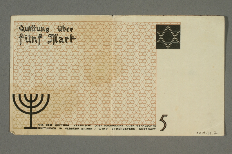 2018.31.2 back Łódź (Litzmannstadt) ghetto scrip, 5 mark note issued to a Polish Jewish woman