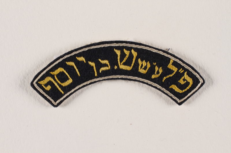 1992.169.11_b front Betar logo patch worn by an internee at a displaced persons camp