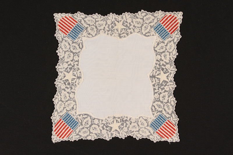 1992.169.12 front Handkerchief embroidered with American flags given to an internee at a displaced persons camp by a US soldier