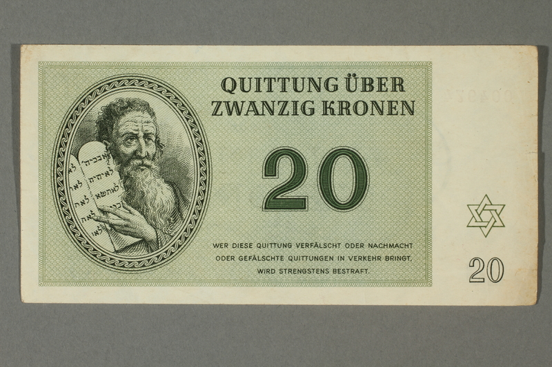 2012.478.4 front Theresienstadt ghetto-labor camp scrip, 20 kronen note, acquired by a German Jewish refugee in the British army