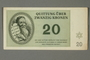 Theresienstadt ghetto-labor camp scrip, 20 kronen note, acquired by a German Jewish refugee in the British army