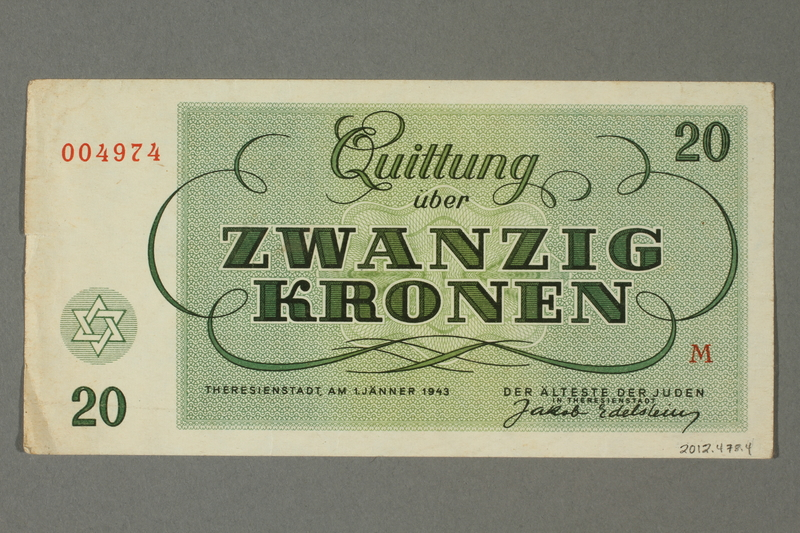 2012.478.4 back Theresienstadt ghetto-labor camp scrip, 20 kronen note, acquired by a German Jewish refugee in the British army