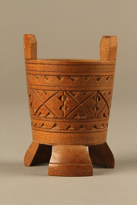 2017.609.4 front Hand carved miniature wooden bucket owned by a Yugoslavian family