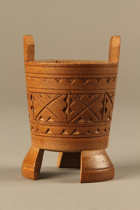 2017.609.4 back Hand carved miniature wooden bucket owned by a Yugoslavian family