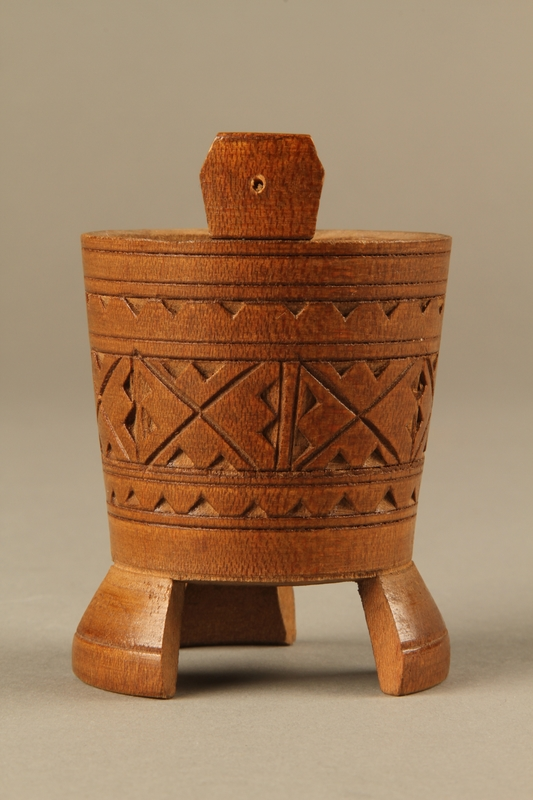 2017.609.4 right Hand carved miniature wooden bucket owned by a Yugoslavian family