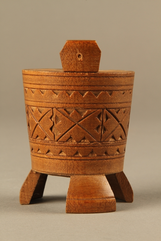 2017.609.4 left Hand carved miniature wooden bucket owned by a Yugoslavian family