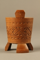 2017.609.4 left Hand carved miniature wooden bucket owned by a Yugoslavian family  Click to enlarge