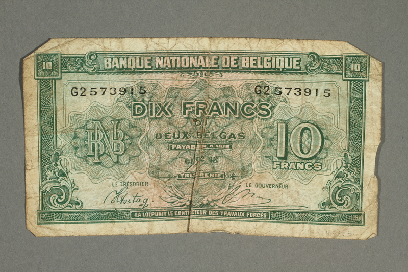 2012.478.5 front Belgium, 10 francs or 2 belga note, acquired by a German Jewish refugee in the British army