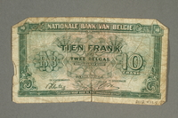 2012.478.5 back Belgium, 10 francs or 2 belga note, acquired by a German Jewish refugee in the British army  Click to enlarge