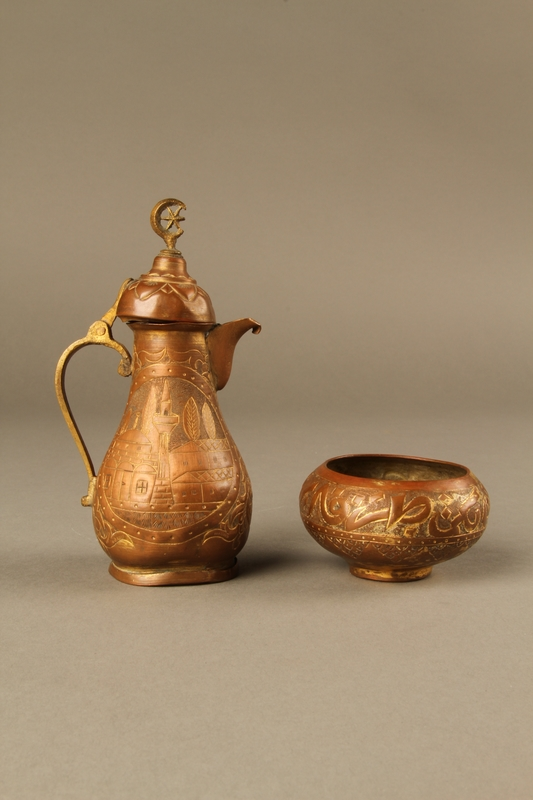 2017.609.8_a-b right side Small coffeepot and bowl with embossed designs used by a Yugoslavian family